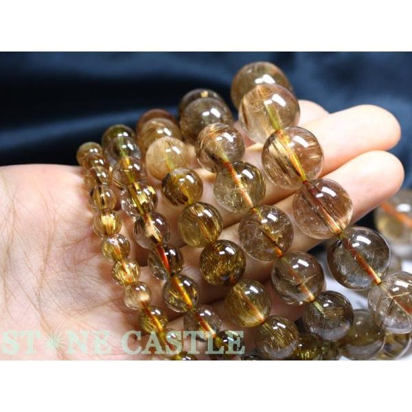 ☆高品質☆【ブレスレット】タイガータイチンルチル (3A) (約14〜14.5mm) (ケース付) 天然石 パワーストーン