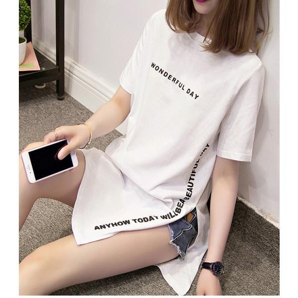24時間限定セール 短納期 送料無料 ロングtシャツ レディース 半袖 ロゴ 白 黒 深めなサイドスリット ゆったり 大きいサイズあり ロンt ビッグt 春夏|store-candyz|11