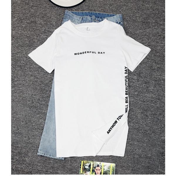 24時間限定セール 短納期 送料無料 ロングtシャツ レディース 半袖 ロゴ 白 黒 深めなサイドスリット ゆったり 大きいサイズあり ロンt ビッグt 春夏|store-candyz|15