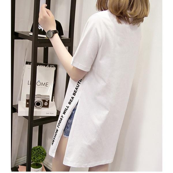 24時間限定セール 短納期 送料無料 ロングtシャツ レディース 半袖 ロゴ 白 黒 深めなサイドスリット ゆったり 大きいサイズあり ロンt ビッグt 春夏|store-candyz|09