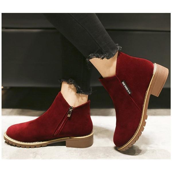 2019 秋 SALE ブーティー レディース ローヒール 歩きやすい サイドジップ スエード調 フェイクレザー 大きいサイズ 小さいサイズ 秋冬 ショートブーツ 靴|store-candyz|10