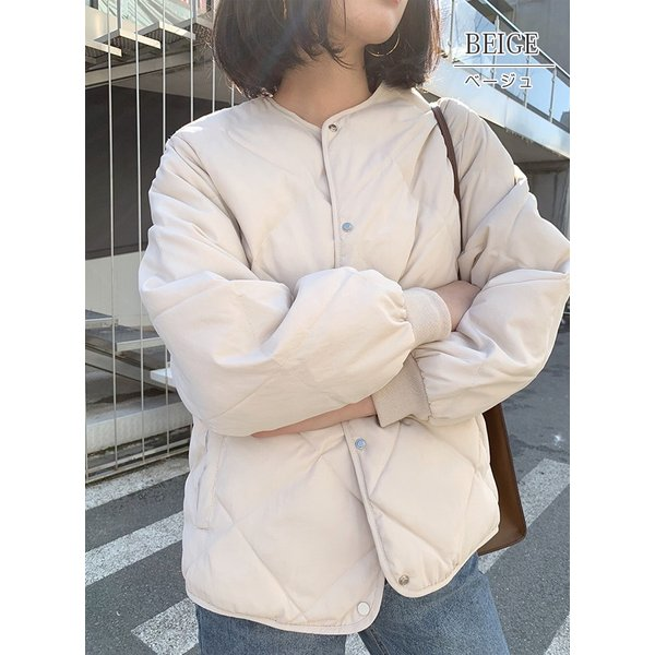 秋物早割セール☆キルティングジャケット レディース ノーカラー フードなし ゆったり 大きいサイズ 軽量 カジュアル 冬 中綿 ブルゾン アウター store-candyz 10