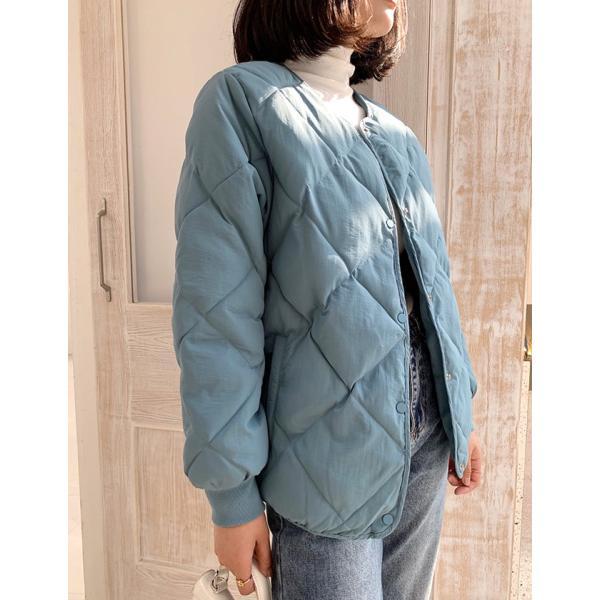 秋物早割セール☆キルティングジャケット レディース ノーカラー フードなし ゆったり 大きいサイズ 軽量 カジュアル 冬 中綿 ブルゾン アウター store-candyz 15