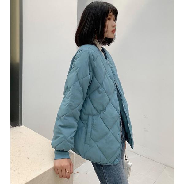 秋物早割セール☆キルティングジャケット レディース ノーカラー フードなし ゆったり 大きいサイズ 軽量 カジュアル 冬 中綿 ブルゾン アウター store-candyz 17