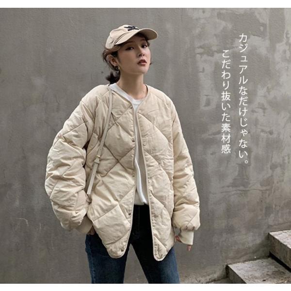 秋物早割セール☆キルティングジャケット レディース ノーカラー フードなし ゆったり 大きいサイズ 軽量 カジュアル 冬 中綿 ブルゾン アウター store-candyz 05
