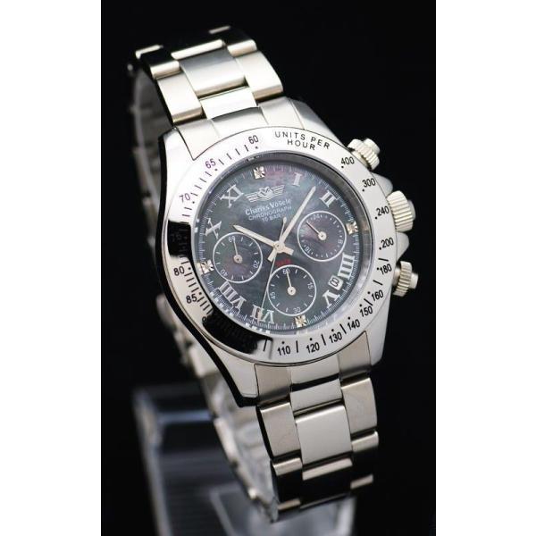 ポイント10倍 シャルルホーゲル Charles Vogele メンズ 腕時計 CV-9027 黒・白モデル 独占販売のシェル文字盤 4Pダイヤ仕様 ラッピング無料|store-jck|02