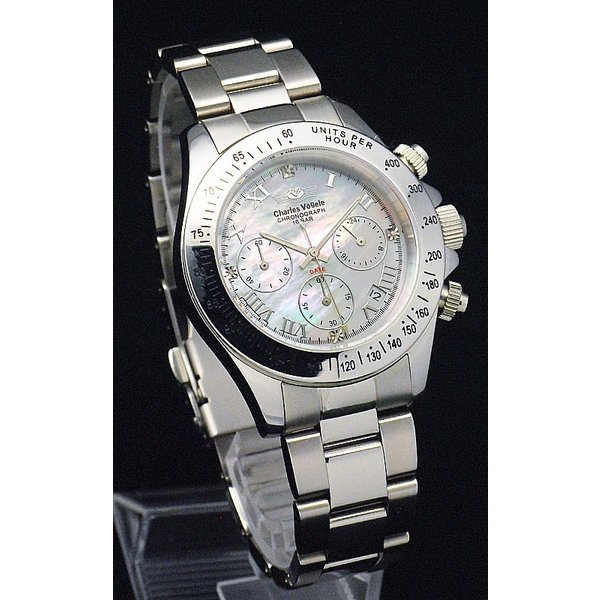 ポイント10倍 シャルルホーゲル Charles Vogele メンズ 腕時計 CV-9027 黒・白モデル 独占販売のシェル文字盤 4Pダイヤ仕様 ラッピング無料|store-jck|03