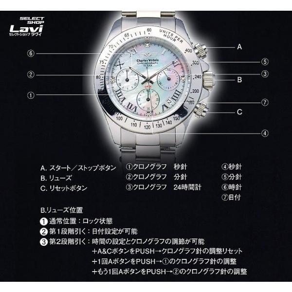ポイント10倍 シャルルホーゲル Charles Vogele メンズ 腕時計 CV-9027 黒・白モデル 独占販売のシェル文字盤 4Pダイヤ仕様 ラッピング無料|store-jck|05