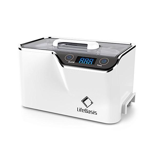 LifeBasis 超音波洗浄機 600ml 2つの振動子で強力洗浄 改善仕様 42,000Hz メガネ洗浄機 5段階タイマー搭載 卓上クリーナー 入