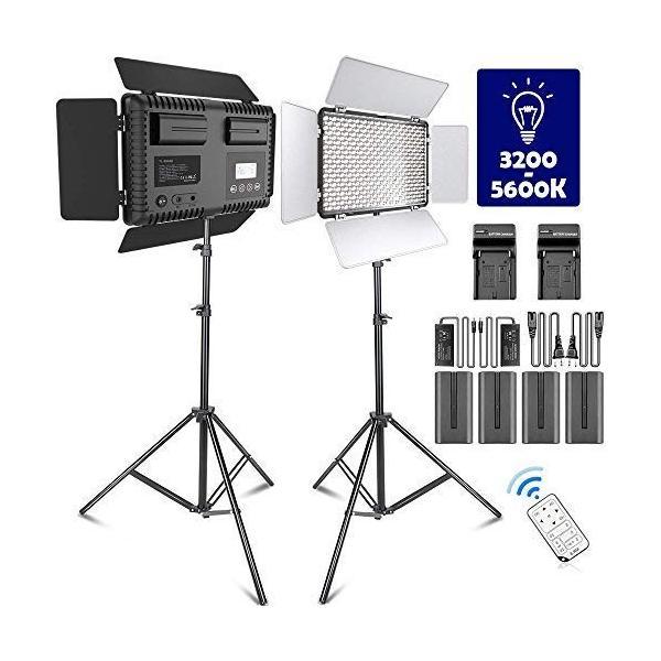 LEDビデオ照明ライトキット SAMTIAN 2パック600AS二色3200K-5600K色温度と調光可能