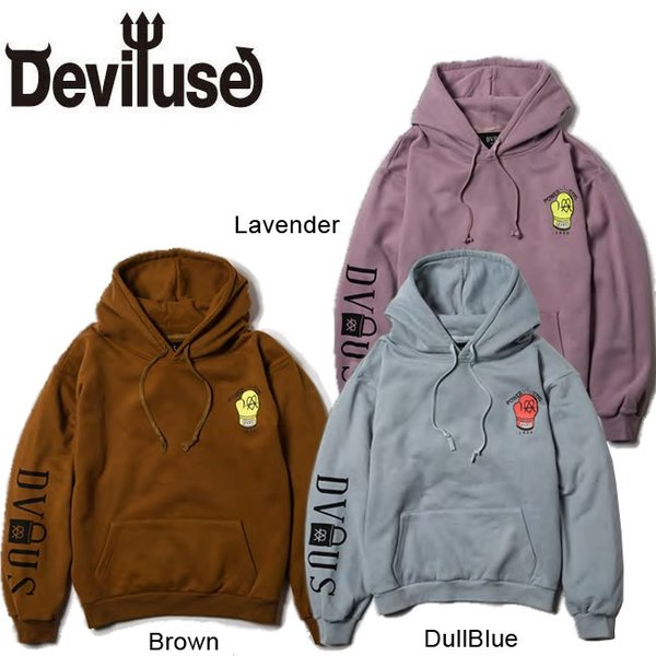 DEVILUSE STAND AGAINST Pullover Hooded Sweat Brown Lavender DullBlue デビルユース パーカー プルオーバー フード スウェット 19aw stormy-japan