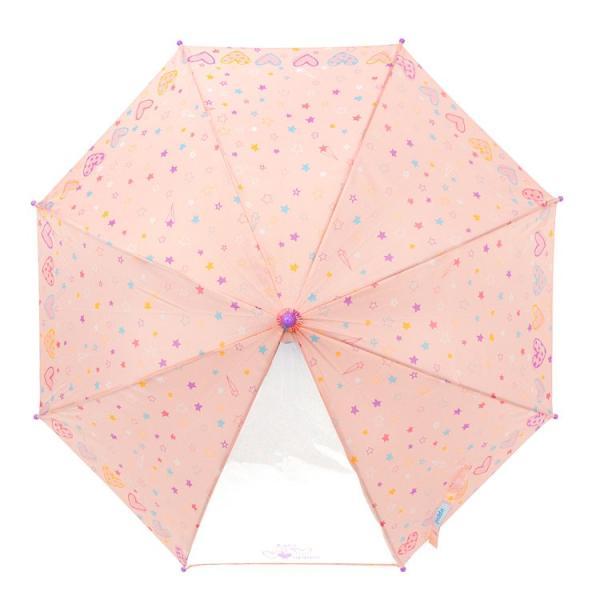 傘 キッズ 透明窓付 ハート&スター柄 長傘 雨傘 ワンタッチ ジャンプ かわいい 子供傘|story-web|05