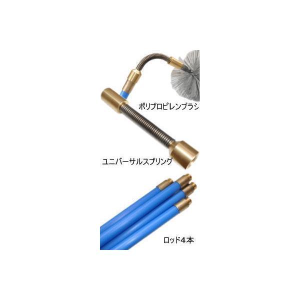 煙突掃除ポリプロピレンブラシ150mmとポリプロピレン製ロッド4本とスプリングのセット (薪ストーブのメンテナンス用品)