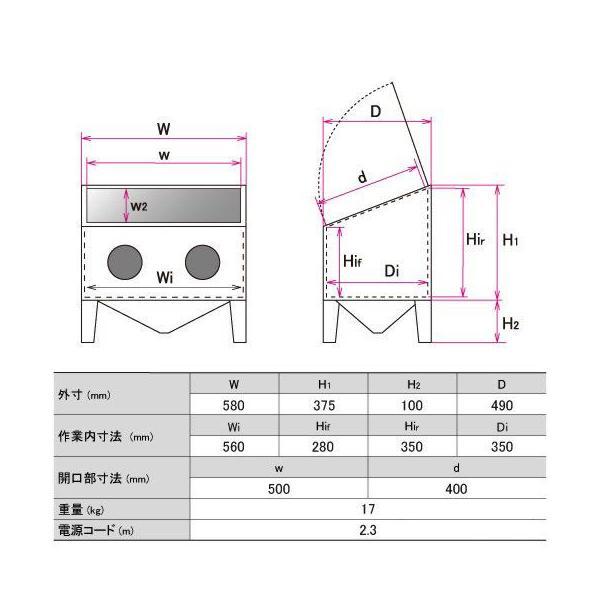 サンドブラストキャビネット M STRAIGHT/15-959 (STRAIGHT/ストレート)|straight-toolcompany|03