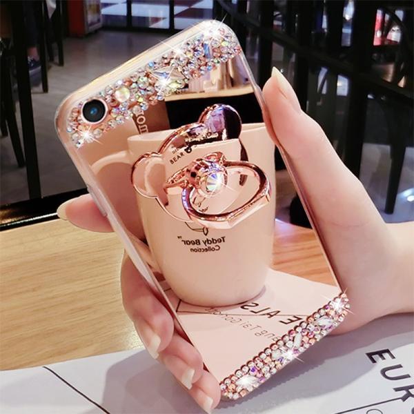 iPhoneケース キラキラ ミラーケース 3 クマリング付き ゴージャス iPhone7 8 6 6S対応 おしゃれ かわいい スマホケース スマホカバー リングスタンド