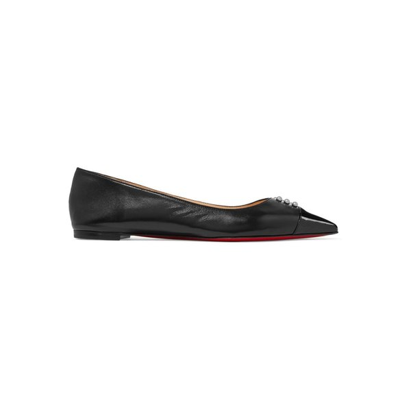 Christian Louboutin/クリスチャン・ルブタン フラットシューズ Predupump embellished patent-leather trimmed leather point-toe flats