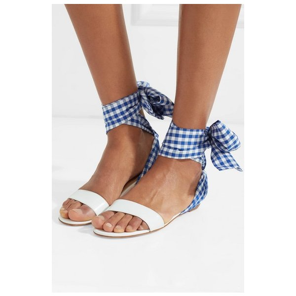 Christian Louboutin/クリスチャン・ルブタン サンダル Sandale Du Desert leather and gingham canvas sandals