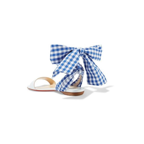 Christian Louboutin/クリスチャン・ルブタン サンダル Sandale Du Desert leather and gingham canvas sandals