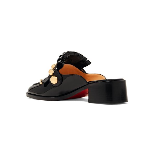 Christian Louboutin/クリスチャン・ルブタン ミュール Octavian 35 studded fringed patent-leather mules