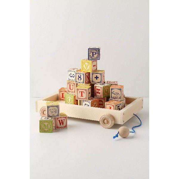 RoomClip商品情報 - Anthropologie/アンソロポロジー アルファベット・イニシャル・モノグラム木製積み木セット ワゴンボックス入り