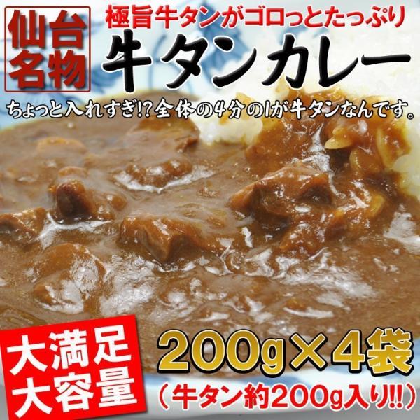 カレー入れすぎましたうまみたっぷり牛タンがゴロっと入った仙台名物牛タンカレー4袋(200g×4)レトルト食品