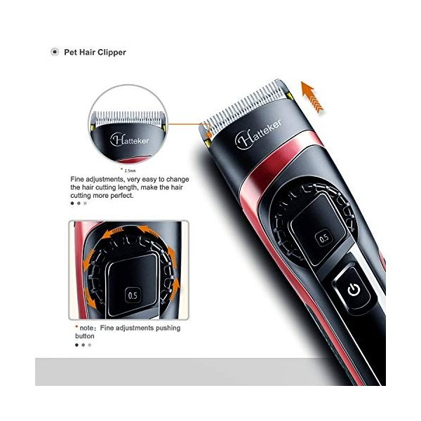 HATTEKER 電動バリカン ヘアカッター ヒゲトリマー USB充電式 刈り高さ調節可 アタッチメント付き 0.5-24mm対応 水洗|studieshop|03