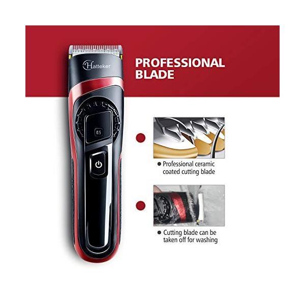 HATTEKER 電動バリカン ヘアカッター ヒゲトリマー USB充電式 刈り高さ調節可 アタッチメント付き 0.5-24mm対応 水洗|studieshop|04