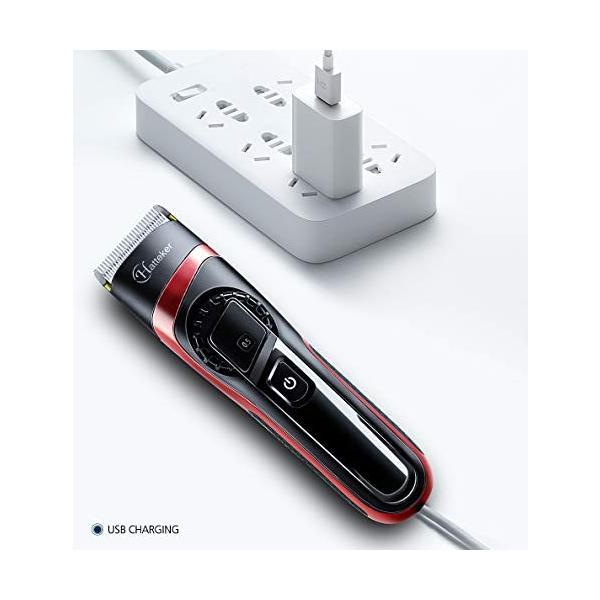 HATTEKER 電動バリカン ヘアカッター ヒゲトリマー USB充電式 刈り高さ調節可 アタッチメント付き 0.5-24mm対応 水洗|studieshop|06