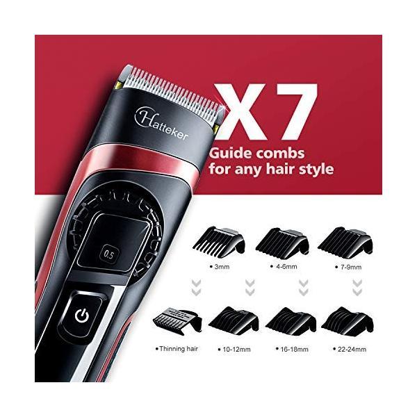 HATTEKER 電動バリカン ヘアカッター ヒゲトリマー USB充電式 刈り高さ調節可 アタッチメント付き 0.5-24mm対応 水洗|studieshop|07