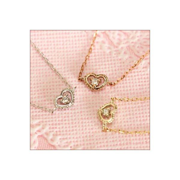 K10 アンティーク ハート ダイヤモンド アンクレット  ミル打ち ダイヤモンド プレゼント
