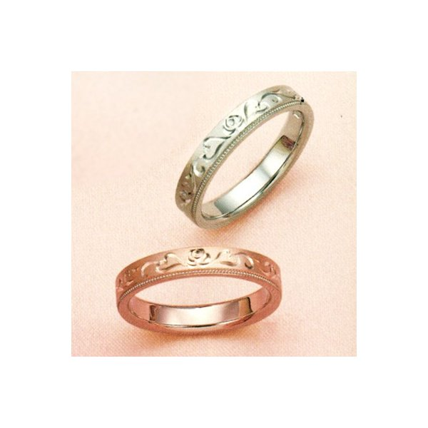 結婚指輪 マリッジリング 2本セット ペアリング カップル ダイヤモンド リング 指輪 地金リング アンティーク 唐草 リング K18 18金 18K ピンクゴールド