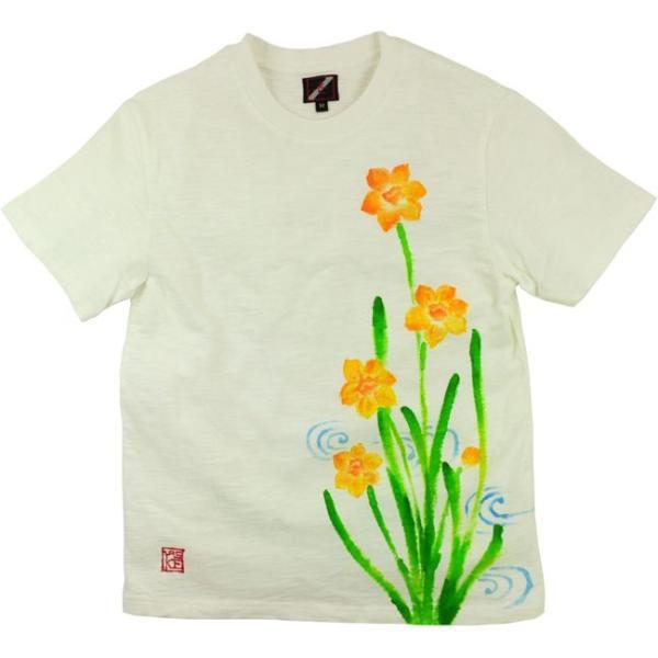 メンズ手描き水仙柄スラブTシャツ