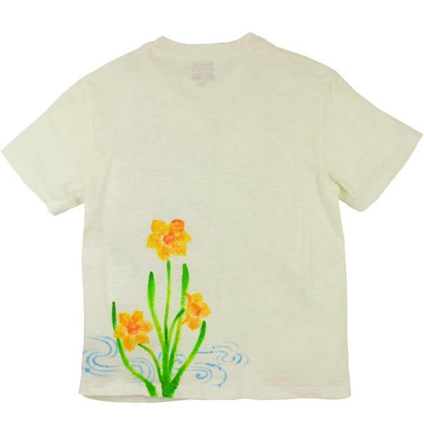 メンズ手描き水仙柄スラブTシャツ1
