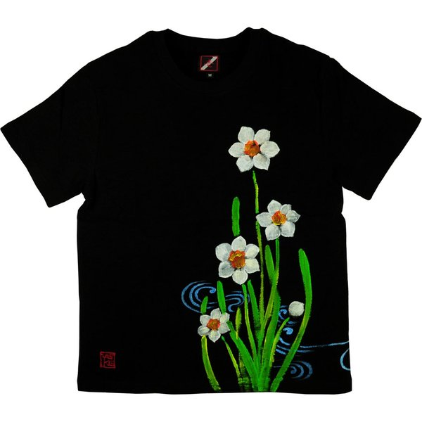 メンズ手描き水仙柄スラブTシャツ2