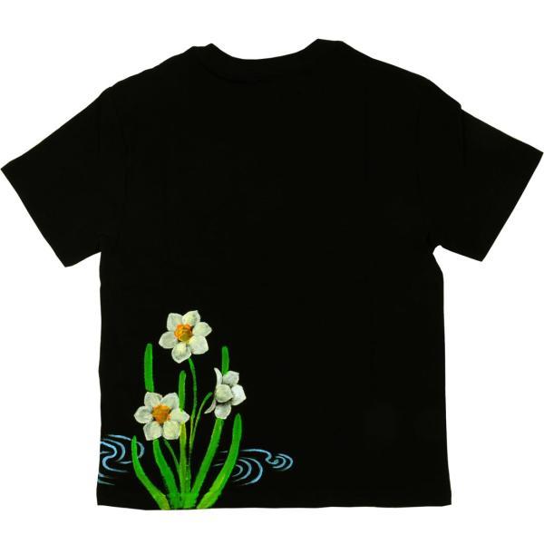 メンズ手描き水仙柄スラブTシャツ3
