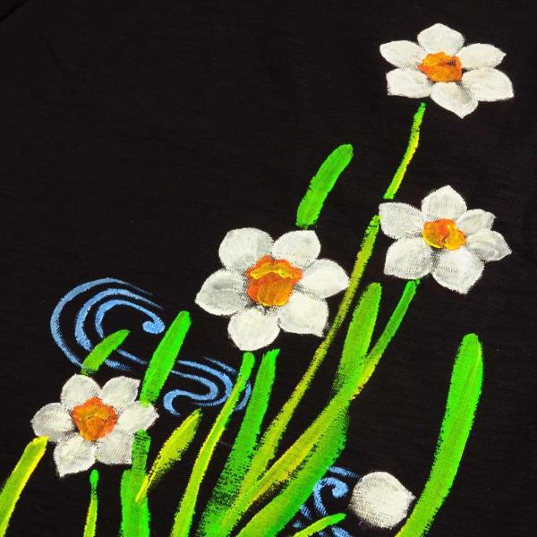 メンズ手描き水仙柄スラブTシャツ4