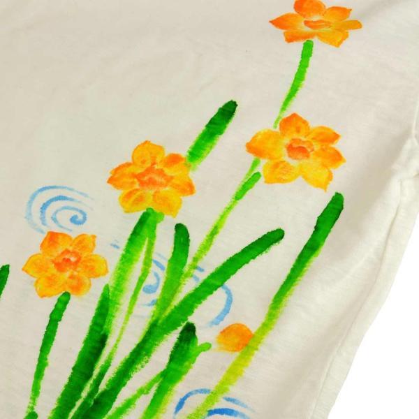 メンズ手描き水仙柄スラブTシャツ5