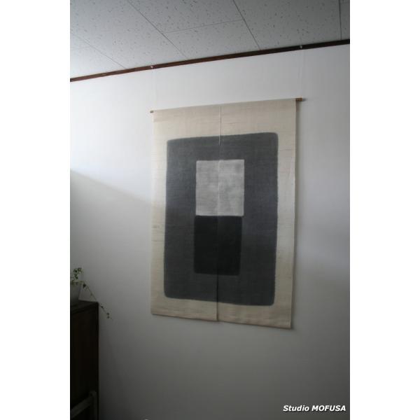 暖簾 のれん N-0401 墨染め 本麻 半間 90x120cm|studio-mofusa|02