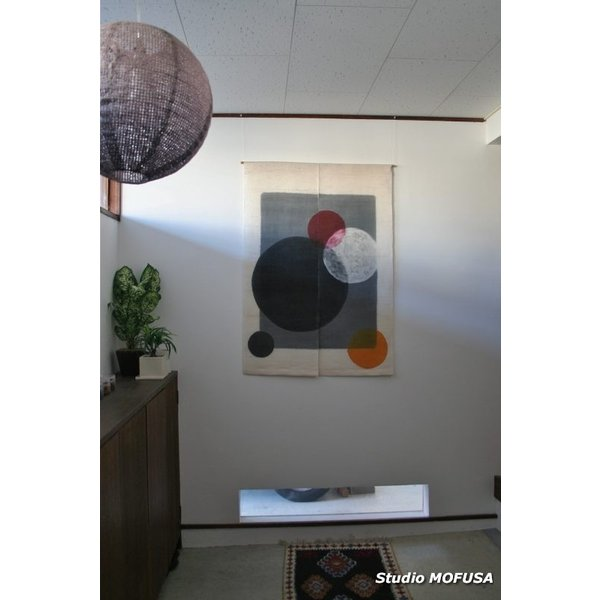 暖簾 のれん N-4302 墨染め 本麻 90cmx130cm|studio-mofusa