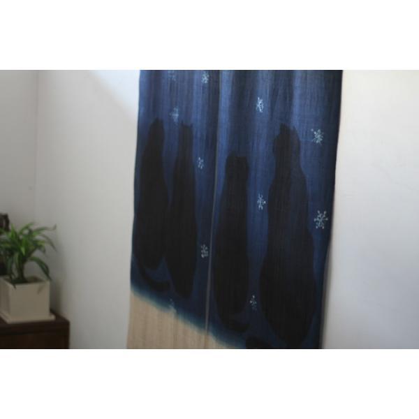 暖簾 のれん N-8123 雪ネコ 墨染 藍染 半間 本麻 90cmx130cm|studio-mofusa|02