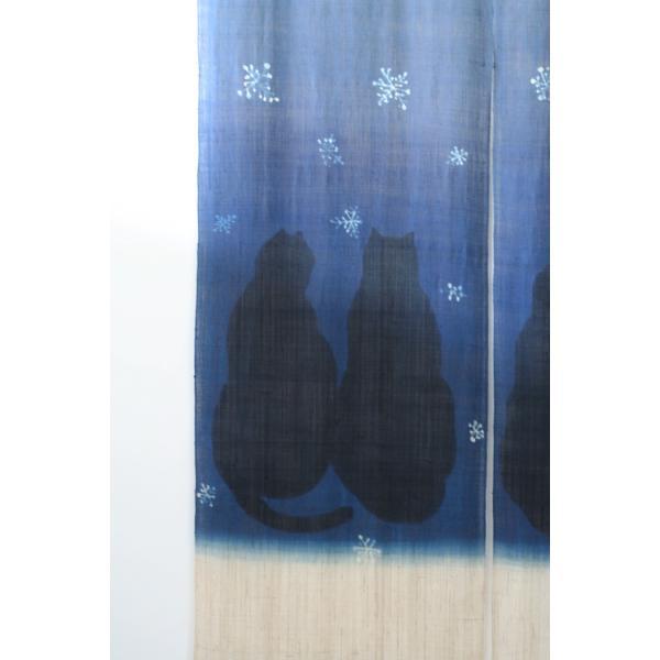 暖簾 のれん N-8123 雪ネコ 墨染 藍染 半間 本麻 90cmx130cm|studio-mofusa|03