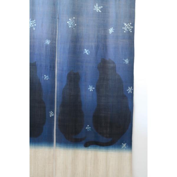 暖簾 のれん N-8123 雪ネコ 墨染 藍染 半間 本麻 90cmx130cm|studio-mofusa|04