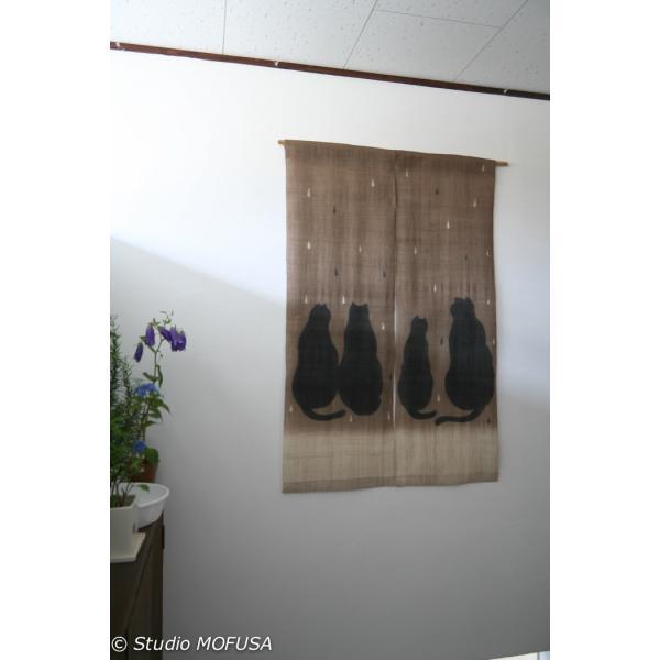 暖簾 のれん N-8136 雨茶ネコ  墨染 天然染料 檳榔樹 半間 本麻 90cmx130cm studio-mofusa 02