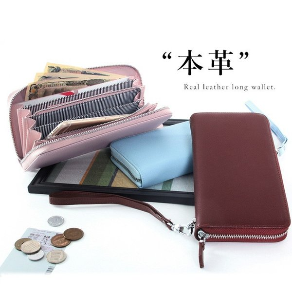 本革長財布 大容量 レディース財布 多収納 ストラップ付 大容量 ラウンド かわいい カード入れ ロングウォレット レザー スマホが入る style-on-global 12