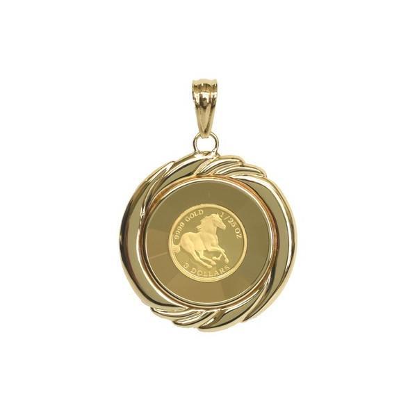 K24 アクセサリー ホースコイン ペンダント 24金 ゴールド 誕生日プレゼント ギフト 贈り物 BOX付