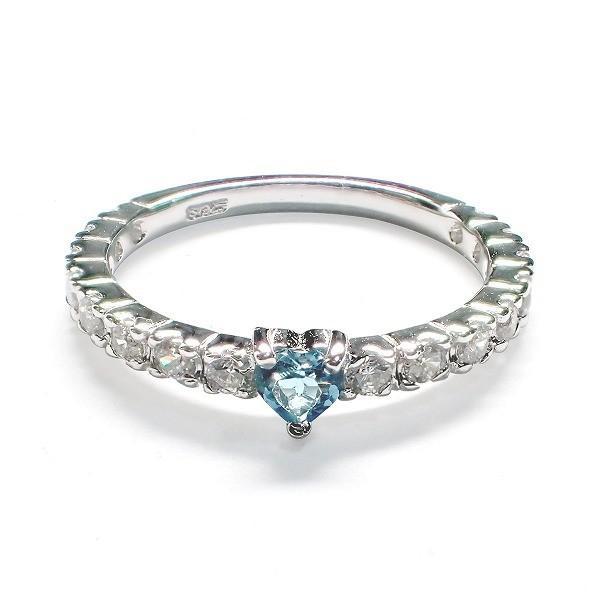 11月の誕生石 ブルートパーズ ハート シルバーアクセサリー 純銀 シルバー925 リング 指輪 レディース 誕生日 プレゼント ギフト 贈り物 BOX付|style-on-stage