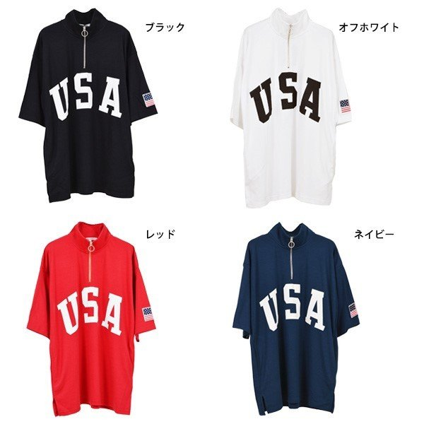 Tシャツ カットソー ハーフジップ 半袖 スタンドカラー ビッグシルエット 星条旗 USA ロゴ プリント トップス メンズ|styleblock|02