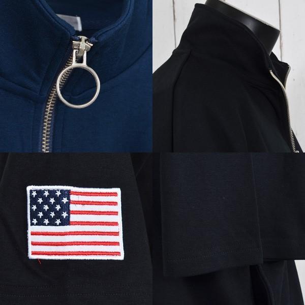 Tシャツ カットソー ハーフジップ 半袖 スタンドカラー ビッグシルエット 星条旗 USA ロゴ プリント トップス メンズ|styleblock|03