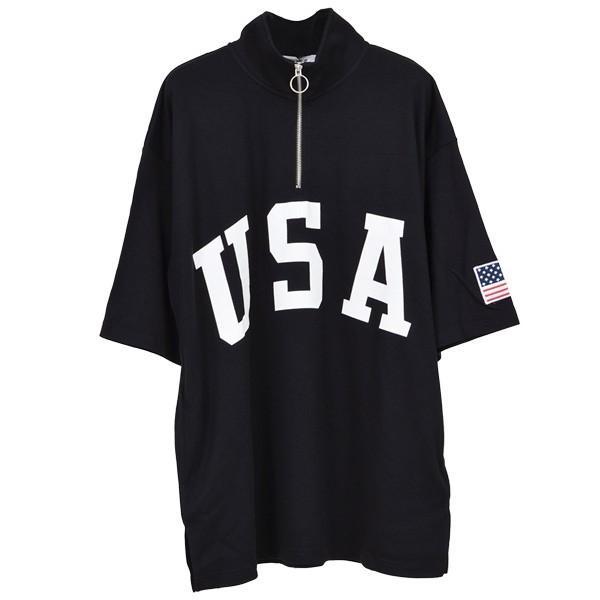 Tシャツ カットソー ハーフジップ 半袖 スタンドカラー ビッグシルエット 星条旗 USA ロゴ プリント トップス メンズ|styleblock|04