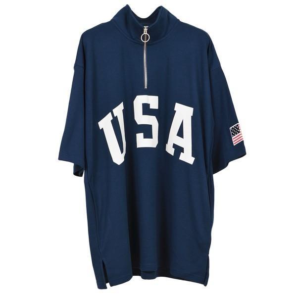 Tシャツ カットソー ハーフジップ 半袖 スタンドカラー ビッグシルエット 星条旗 USA ロゴ プリント トップス メンズ|styleblock|05